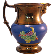 English Copper Lustre Blue Peacock Pitcher Jug - Mid 1800's