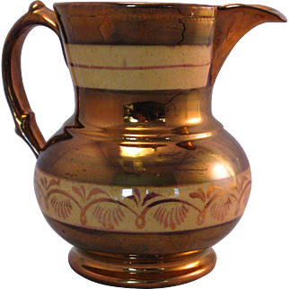 Pink Copper Lusterware Pitcher with hand painted Double Band - Mid 1800's Sunderland