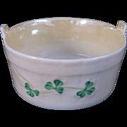 Belleek Shamrock Open Butter Tub Yellow Luster Interior - 6th Mark
