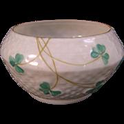 Belleek Basket weave Shamrock Small Sugar or Candy Bowl - Fourth Mark - 1946-1955