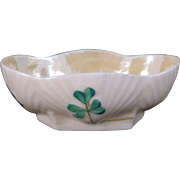 Belleek Scallop Shell Shamrock Open Salt Bowl - Third Period Black Mark - 1926 - 1946