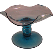 Vintage 1960's Art Glass Aqua Blue Compote Candy Dish