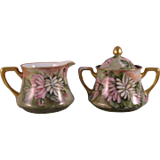 1914 German Bavaria Porcelain Hand painted Cream and Sugar Bowl - Green, pink, white with gold gilt - Signed E. H. Havens