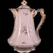 "Haviland & Co. Limoges Violets and Gold 9"" Water Pitcher - 1889-1896"