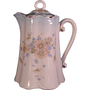 Porcelain White Blue & Daisy Milk or Syrup Pitcher or Tea pot with lid and  Gold accents