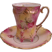 RS Prussia Porcelain Demitasse Cup and Saucer Pink and White Rose, Hydrangea with Gold Gilt