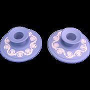 Wedgwood Blue Jasperware Porcelain 2 Candlestick England late 20th century