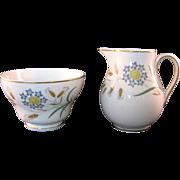 Wedgewood Bone China Wheatear W4051 Sugar Bowl and Creamer Mid 20th Century
