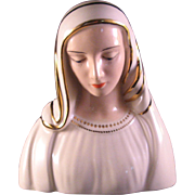 Mother Mary Madonna Ceramic Large figure with Gold Accents - Handmade