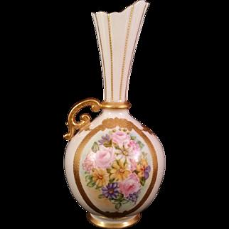 CAC Lenox American Belleek Bulbous Vase hand painted Rose Bouquet 1889-1906