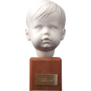 Vintage Boy Bust Ehren Parian mounted on wood - Mid Century Modern