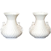 Belleek Thistle Vase set  - 5th Mark Green by Belleek Pottery Ireland