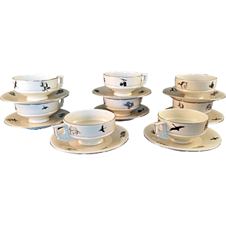 8 Black Silhouette Demitasse Cups and Sauces by Royal Epiag Czechoslovakia c1948 MCM