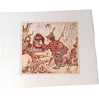 """Whimsical Pen and Ink drawing """"The Magic Door"""" by Allan Reid Ann Arbor, MI  c1975"""
