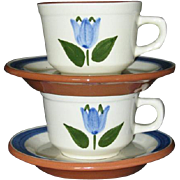 2 Rare Stangl Stoneware Handpainted Blue Tulip Tea Coffee Cup and Saucers