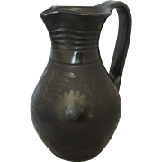 Vintage Black Pottery Flower Design Ewer Pitcher Folk Design by Ferenc Fazekas of Nádudvar, Hungary - signed & dated 1996