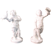 2 Antique Ginori Capodimonte White Porcelain Putti Boys with Birds figurines -  1896 -1925