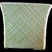 Green Apple Basket Weave Vase by Stanford Art Pottery Sebring Ohio #244 Vase – Mid 20th Century 1950's
