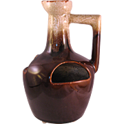 Strawberry Planter Brown Jug Drip Glaze Vintage Ceramic