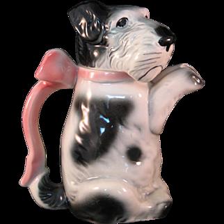 Erphila Germany Ceramic Terrier Dog Teapot Pitcher w Pink Bow 1950's #6702B