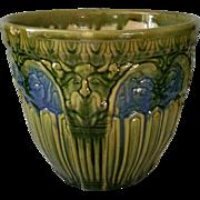 Vintage Majolica Jardinière Green Man Pillars Blue & Green Glaze