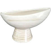 McCoy Pottery Harmony Pedestal Bowl Olive Green lines c1960