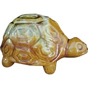 Vintage Turtle Bank ceramic coin bank gold orange c1960's