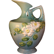 Roseville Pottery White Rose Blue Ewer Pitcher 990-10 from 1940