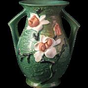 "Roseville Pottery 7"" Vase Blue Green Magnolia 90-7 - 2 handles"