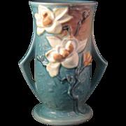 "Roseville Pottery 7"" Vase Deep Aqua Blue Magnolia  89-7 - 2 handles"