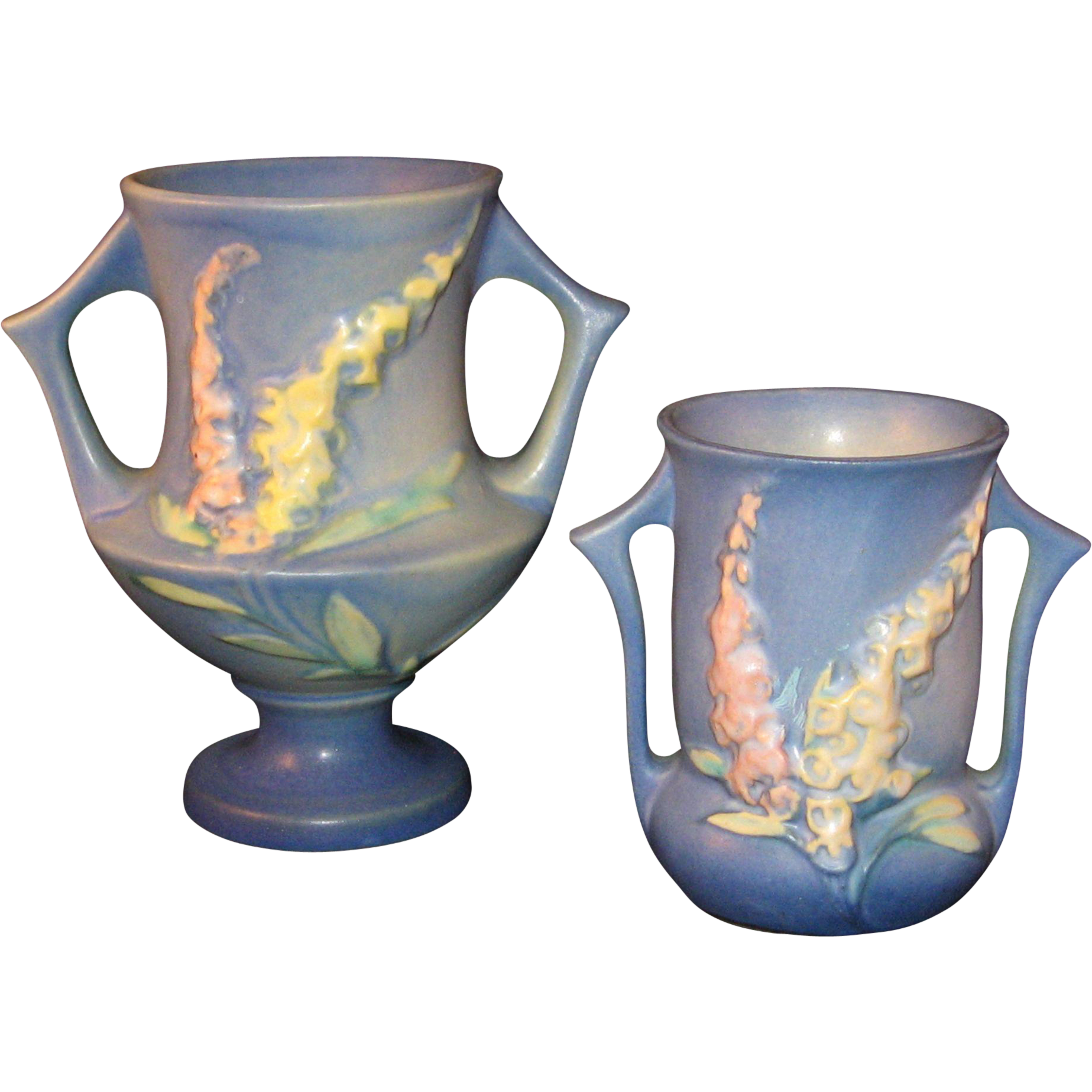 2 Roseville Pottery Foxglove Vase Blue With Yellow And Pink 42 4 And From The7hillscollector