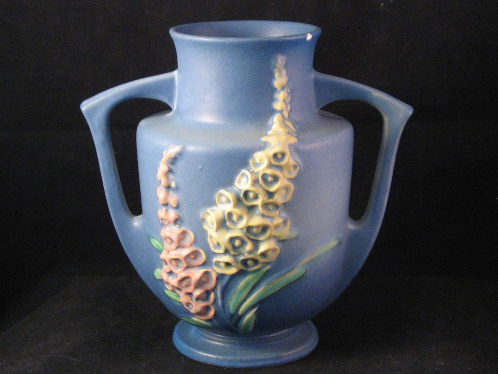 1943 Roseville Pottery Blue With Yellow And Pink Foxglove Vase 46 7 From The7hillscollector On