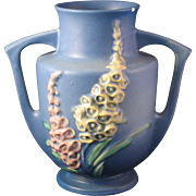 1943 Roseville Pottery Blue with Yellow and Pink Foxglove Vase 46-7 - two handles