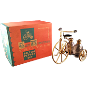 Gay Nineties Tricycle Salt and Pepper Shaker 24kt gold plated caps in original box
