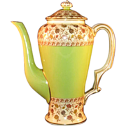 Rare Royal Worcester Porcelain Teapot Gold Trim, Green, Floral Tea Pot marked ca.1892 - MINT - 7 1/4""