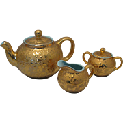 Cameron Clay Products 24 KT Gold Splatter & Light Blue Teapot , Sugar Bowl and Creamer Set - Mid 20th Century Made in USA