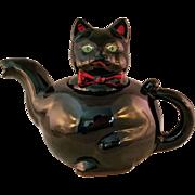Black Cat Redware teapot Shafford Souvenir Block Island RI 1950's