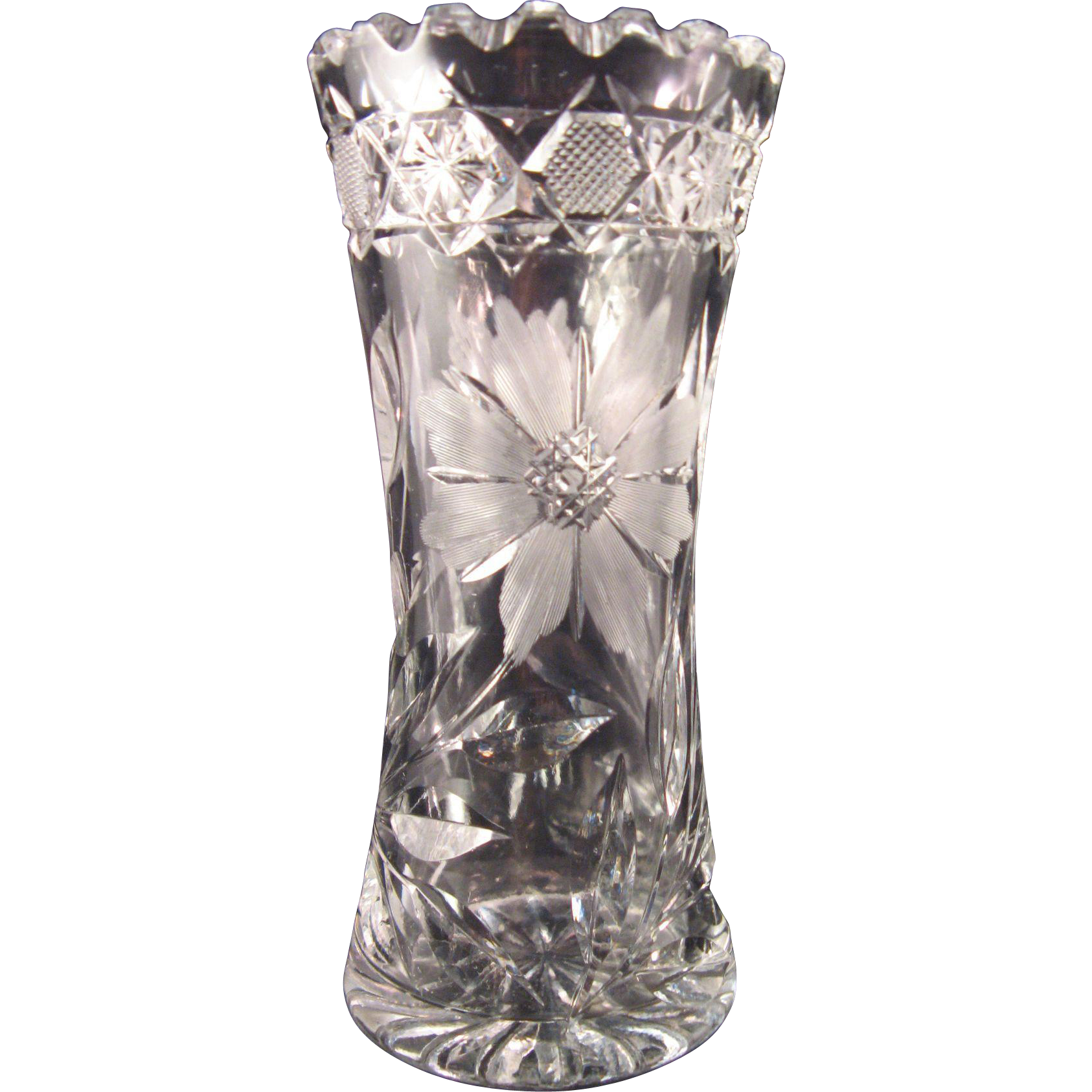 Vintage small lead crystal cut and etched flower vase 6 the 7 hills collector ruby lane