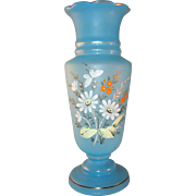 "Vintage Aqua Blue Bristol 12.75"" Glass Vase Hand painted Daisy and Butterfly"