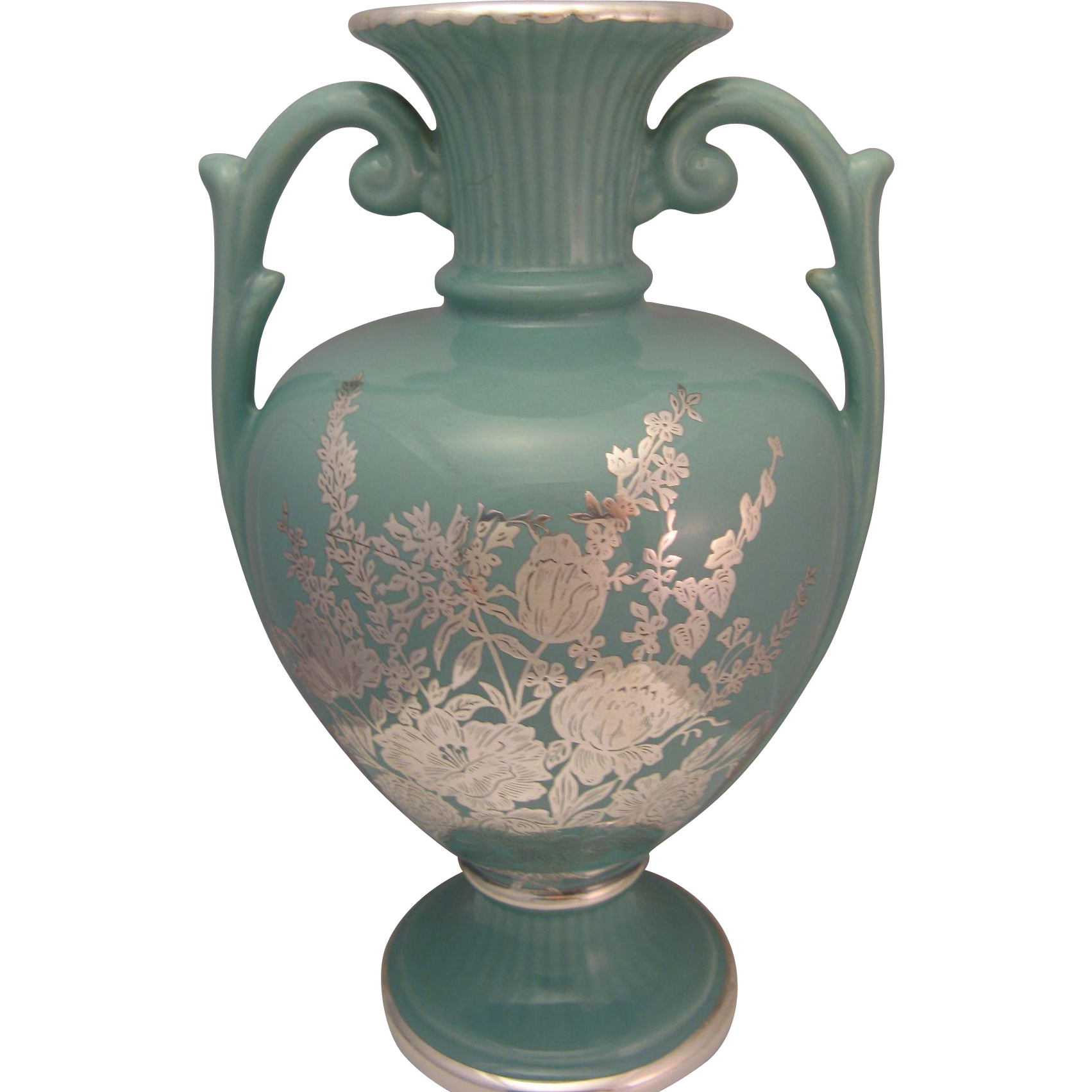 Vintage Sterling Overlay Aqua Blue 9 5 Quot Urn Vase By National Silver From The7hillscollector On