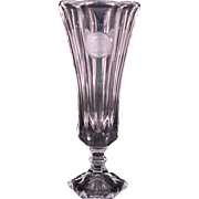 "Fostoria Crystal Clear Coin Glass Footed Vase 8"" - Nice Crisp Medallions"