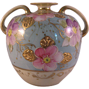 Vintage Hand painted Pink & Purple Flowers with Gold Gilt Vase - Porcelain Bulbous Amphora handle Vase