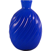 Vintage Pairpoint Blown Cobalt Blue Swirl Flask or Vase