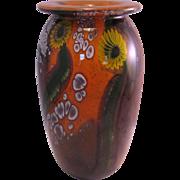 Robert Eickholt Yellow Sunflower Paperweight Studio Art Glass Vase Signed and numbered 1995 - Stunning!
