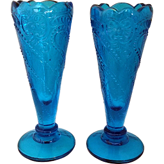 Lacy Pressed Glass Aqua Blue Celery Vases Stars and Swirls pair of 2 EAPG