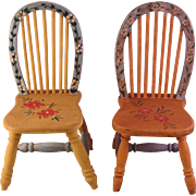 2 Vintage Doll Chairs Hand Painted 1960-70's Rustic Wood Pine