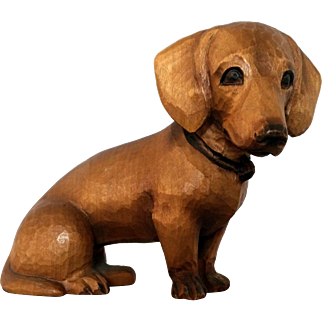 Carved Dachshund Dog made in Switzerland Vintage
