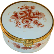 Vintage Limoges France  Glazed Porcelain Round Trinket Box Hand Painted Flowers and Gold Trim