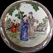 Antique Chinese Canton Enamel on Copper Round Trinket Box Man Woman Child Scene