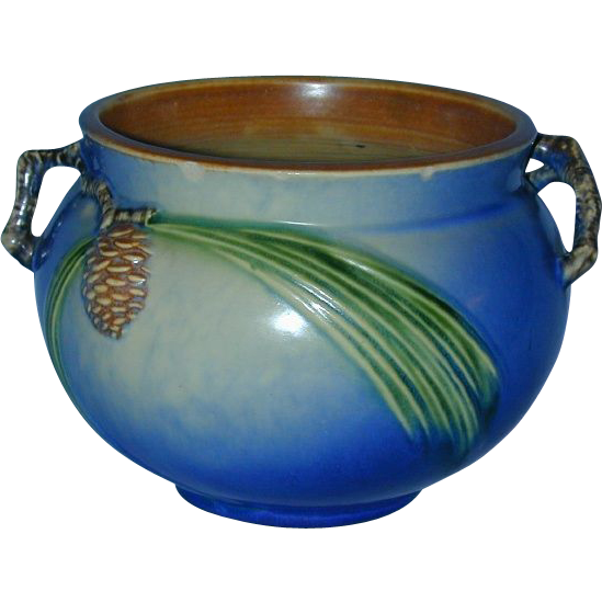Quot Rare Quot Roseville Pottery Beautiful 5 Quot Blue Pine Cone